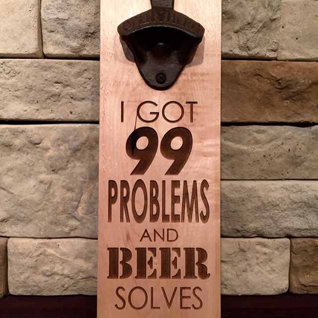 """I GOT 99 PROBLEMS"" Magnetic bottle opener. Swipe left on the picture to see more!!!! Can hold upto 40+ bottle caps. Screw it to a wall or attach it to your fridge. Available to purchase @ our Etsy store. Click on the link in our profile above 👆🏻 #beer #beergift #magneticbottleopener #magnet #brewery #openbeer #bottleopener #bottle #beergift #beerbelly #beer🍻 #beerporn #bottlecap #bottlecaps #beerlover #beerstagram #drink #drinkup #etsy #etsyshop #etsyfinds #etsyseller #etsysellersofinstagram #99problems"