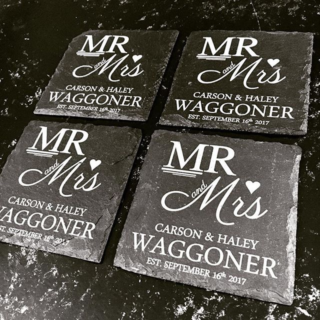 Custom Slate Coasters made by @vibelaser the perfect wedding gift. Contact us for any design. #wedding #slate #gift #weddinggift #mr #mrandmrs #married #heart #love #giftregistry #etsy #etsyshop #etsyfinds #etsyseller #etsysellersofinstagram #bride #groom #slatecoffeeroasters #slatecoasters