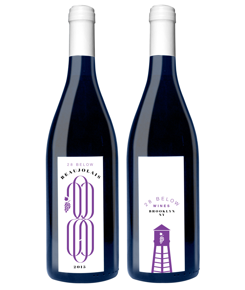28 BELOW WINES  Wine label. Front graphic it's a homage to Anagrama. One of my favorite design studios. Can you spot the 2 & 8? Back graphic had to zero in on the fact that the wine is Brooklyn made