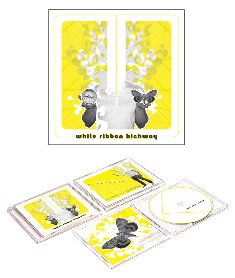 WHITE RIBBON HIGHWAY  CD packaging for a Brooklyn based musician with a meditative romantic sound