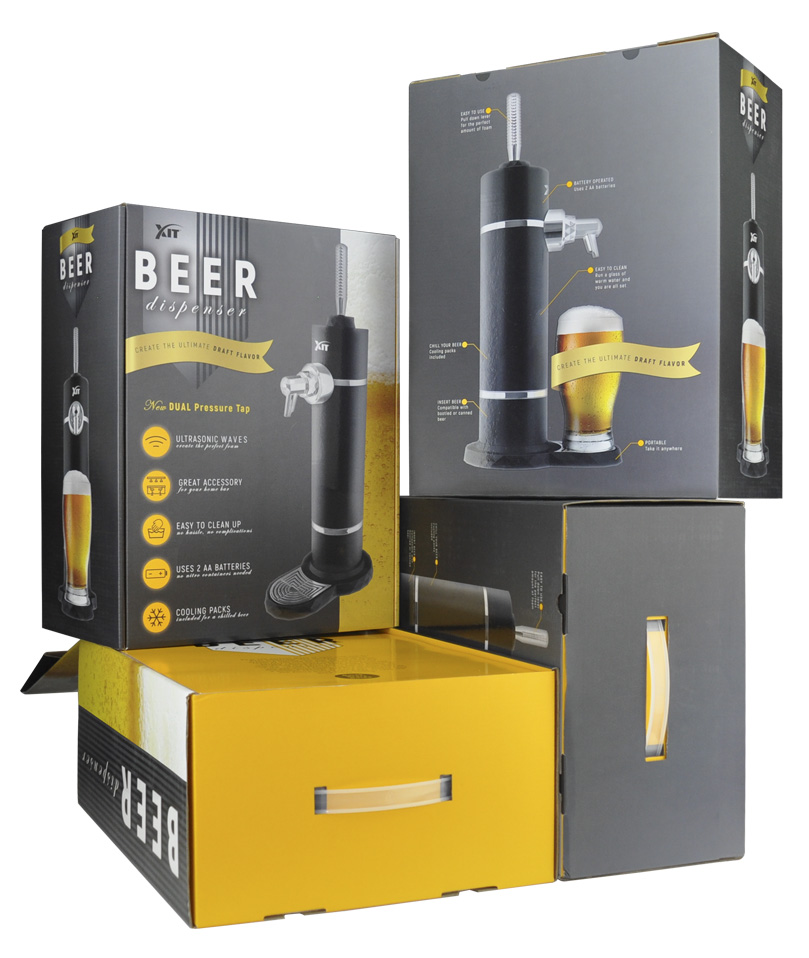 XIT  Packaging for a home bar accessory – Beer Dispenser. The product creates the perfect foam and improves the taste of beer which is imply visually. Also, once the package is open you are greeted with a pop of yellow similar to the color of beer before unveiling the product; therefore, creating a memorable customer experience
