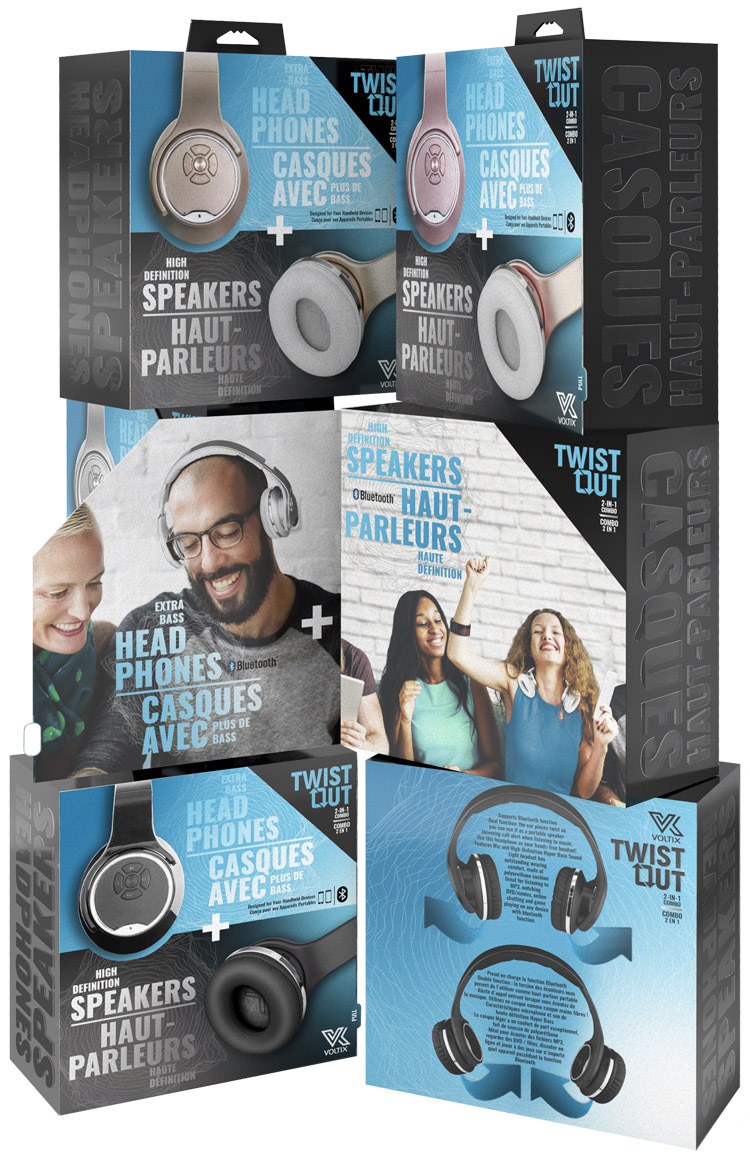 VOLTIX  Twist Out is a set of headphones that turn into speakers by flipping the ear muffs. This solution features a door flap that when open reveals lifestyle images showing both functions. The Twist Out was sold in Canada so the verbiage had to be presented in English and French