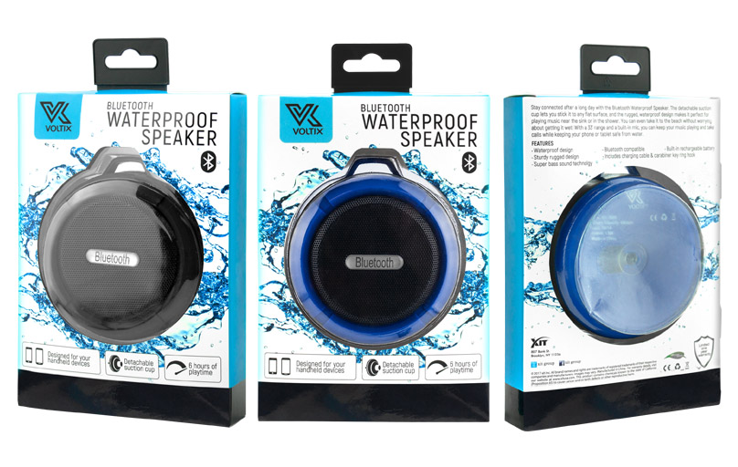 VOLTIX  Bluetooth waterproof speakers. This is directly shown by the splash of water surrounding the product. Also, another feature is its suction cup which can be mounted on any surface