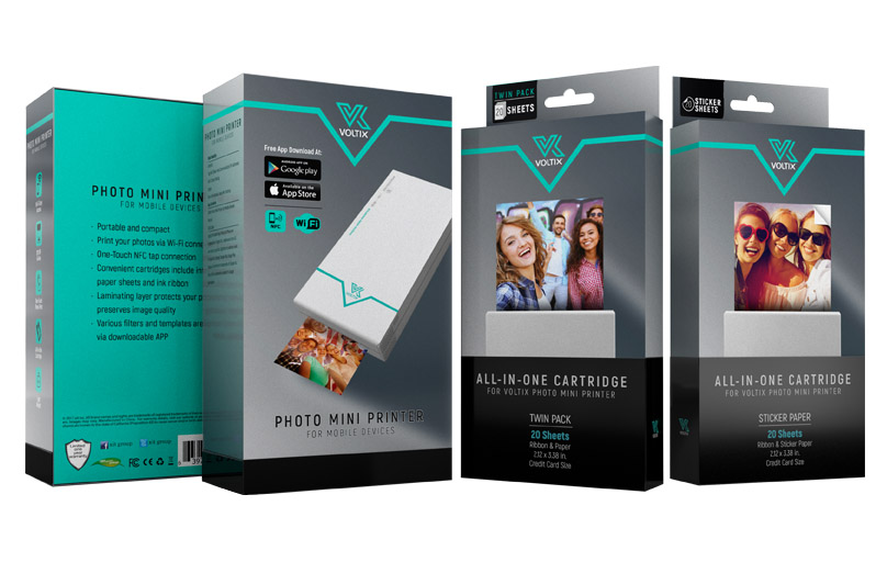 VOLTIX  Uniform packaging for a photo mini printer and its cartridges