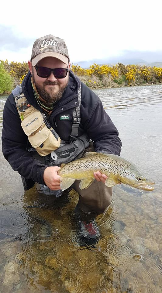 Trev with his first fish of the new season on a dry ! Beautiful specimen and mad all the better fooling him on a dry fly during a small late arvo hatch.