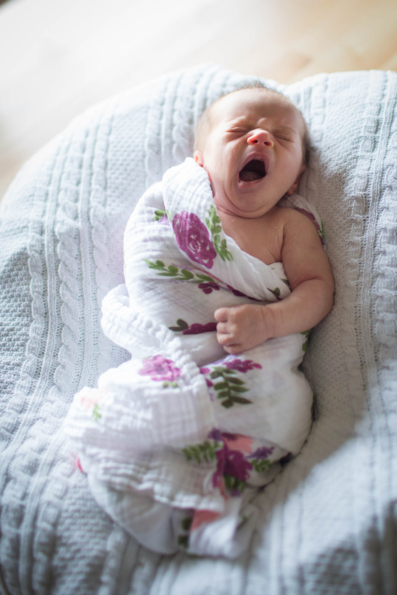Baby Helen yawning. Austin lifestyle newborn photography.