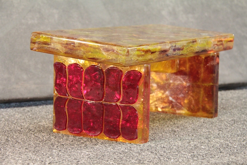 Meditation Bench (2013) - Red Lotus - Fused Glass