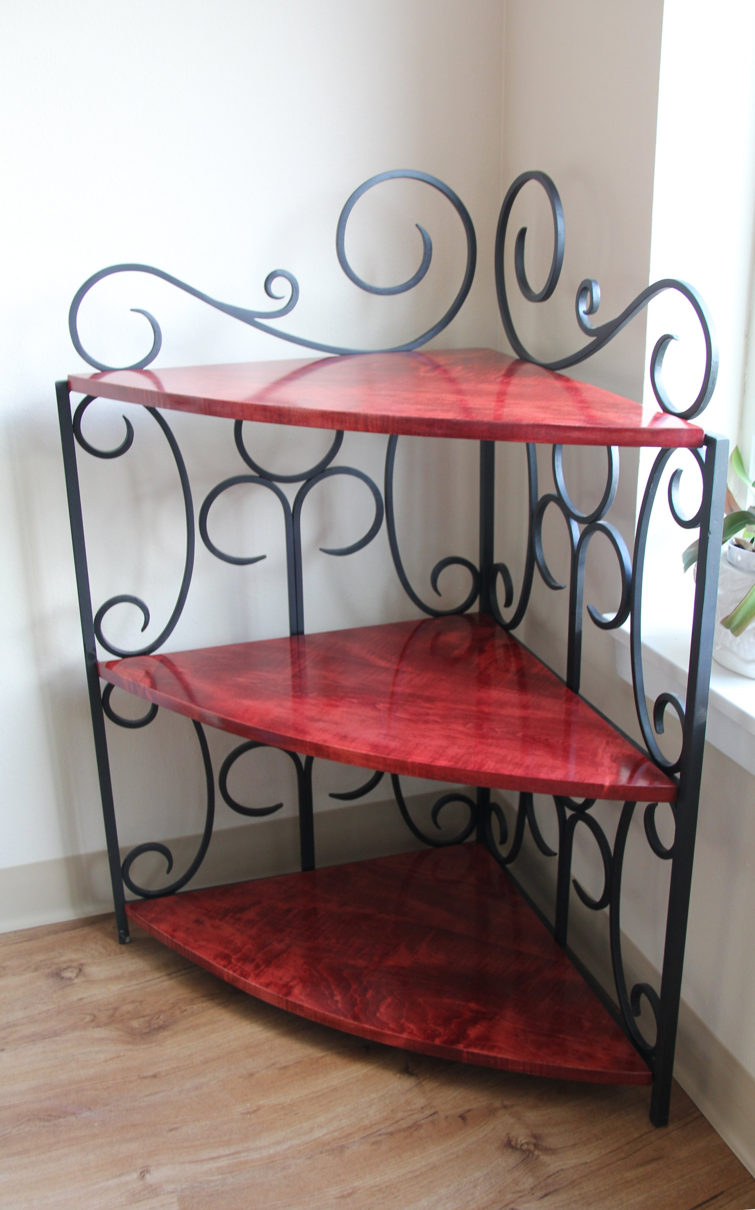 Corner Shelves (2016) - Wrought Iron and Curly Maple (Woodwork by Nathan Galanter)