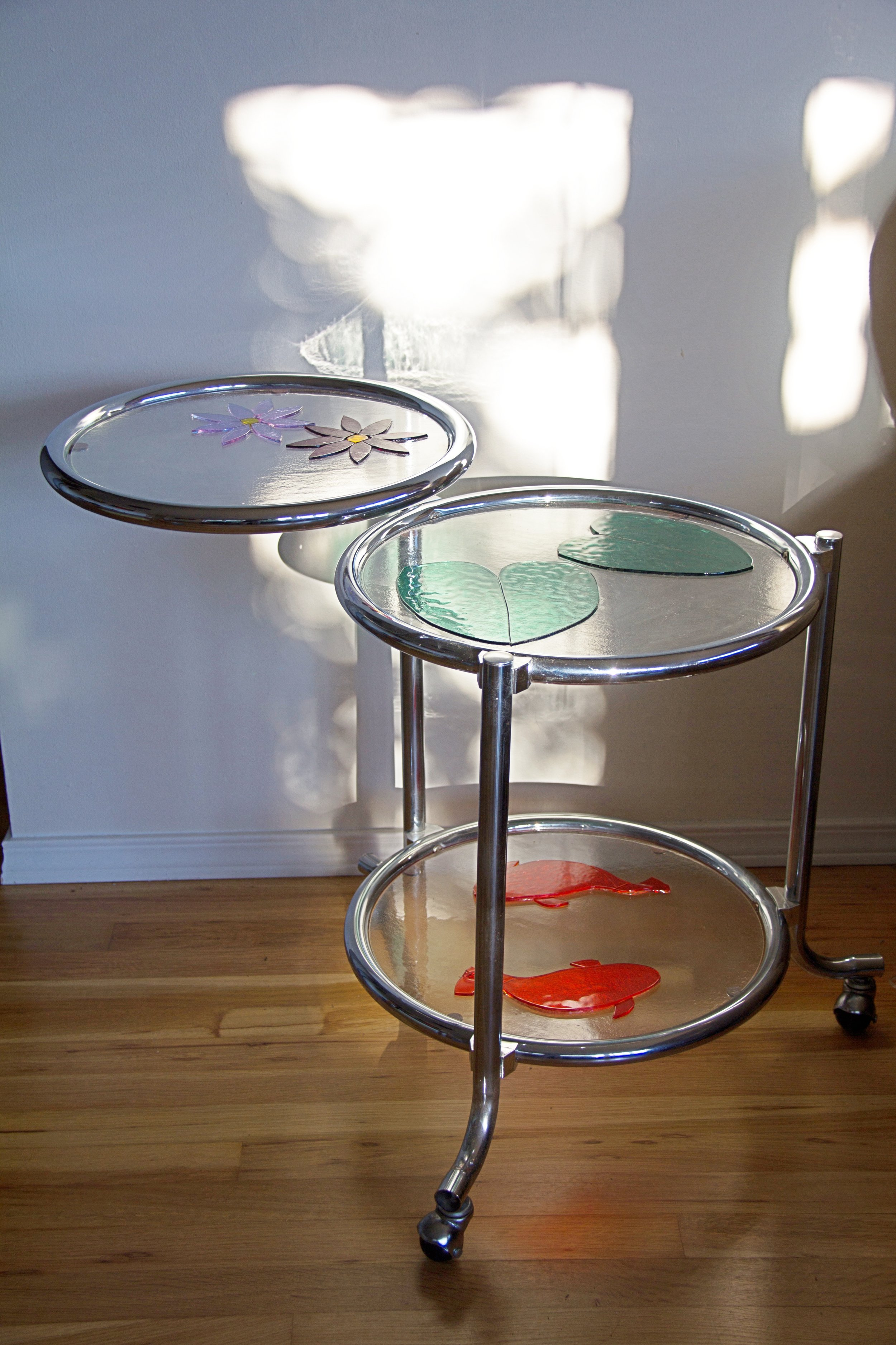 Water Lily Table (2013) - Fused Glass & Refurbished Table