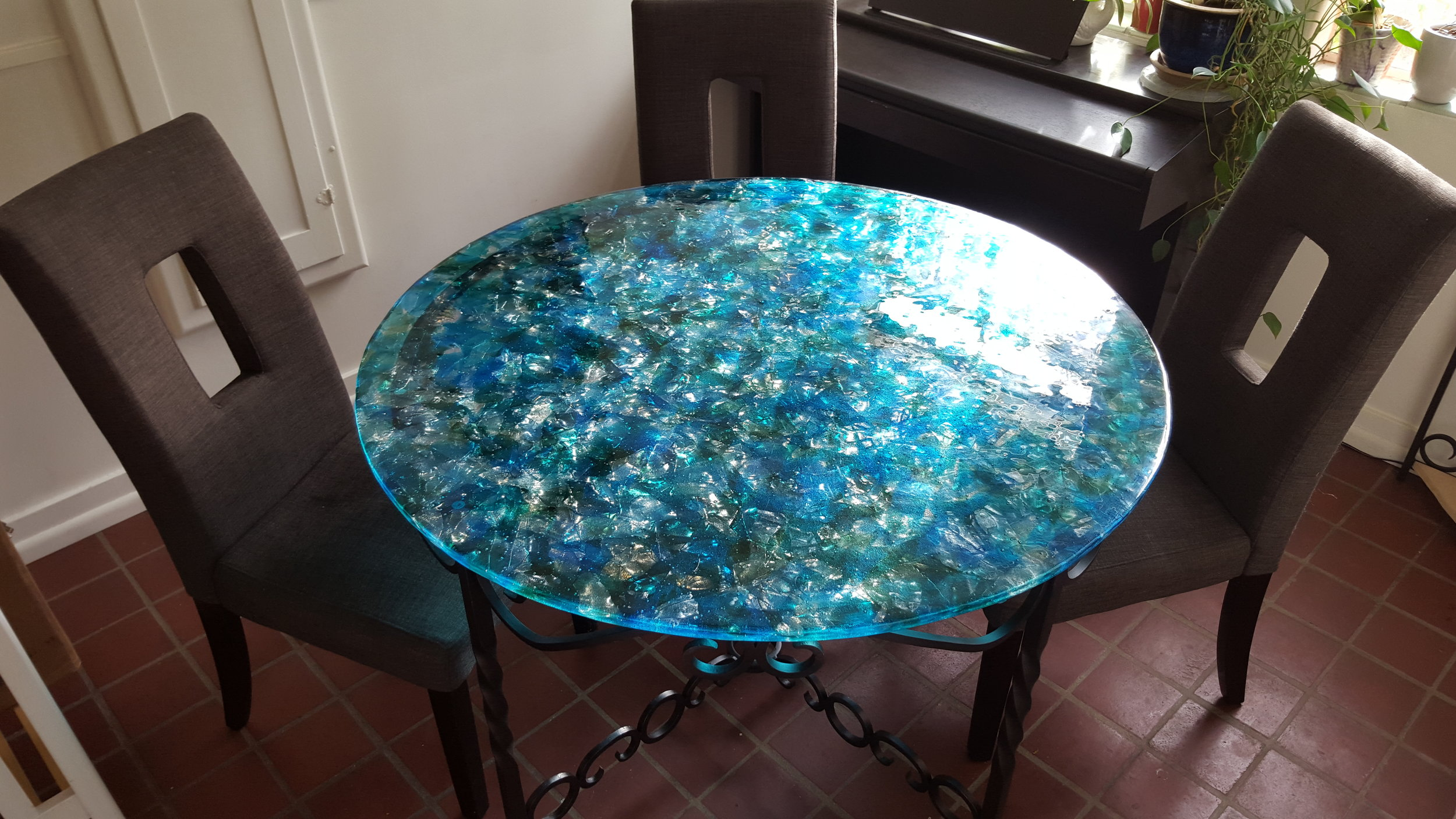 Dining Table (2016) - Fused Glass and Wrought Iron