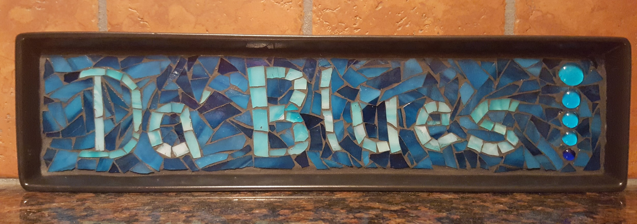 Sometimes words can't express enough people's appreciation! In lieu of a written testimonial  Linda K., a mosaic artist,  expressed her gratitude for her lessons by creating/gifting me this wonderful piece of art.