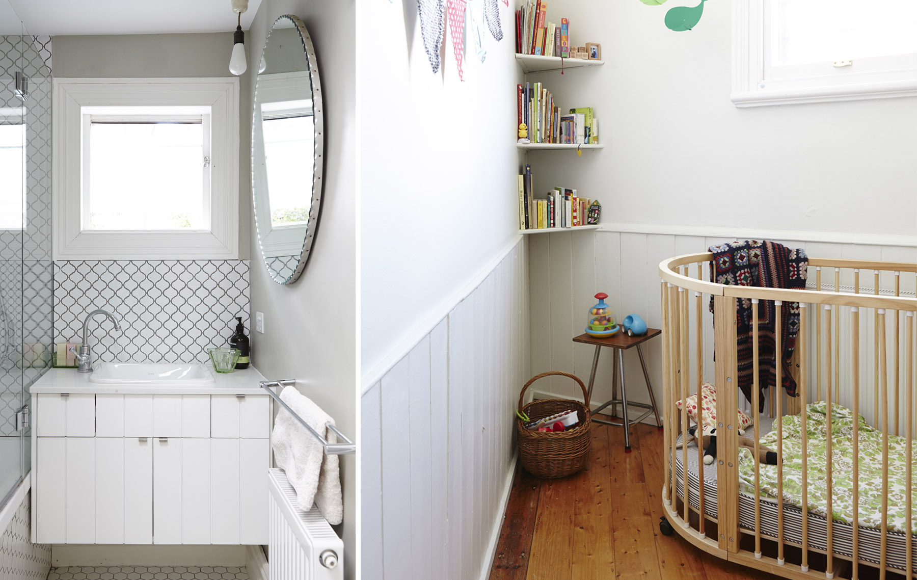 A teeny-tiny bathroom/ laundry and toilet were reconfigured by Nicola, making them functional despite the spatial challenges, graphic detail in the vanity and tiles adding interest. Trims and mouldings were painted white to contrast with the timber floors and provide cohesion.