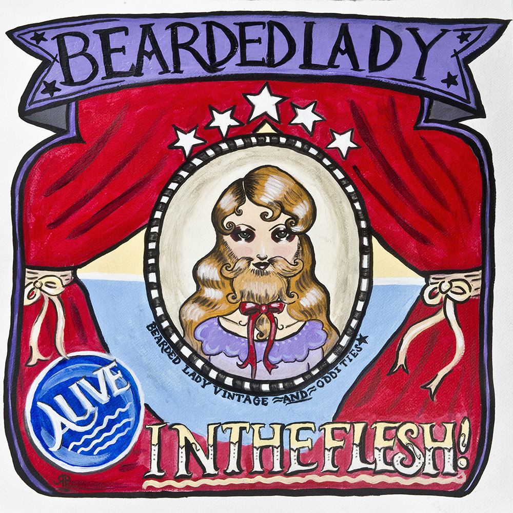 Sideshow banner hand painted for Bearded Lady Vintage & Oddities in Burbank.