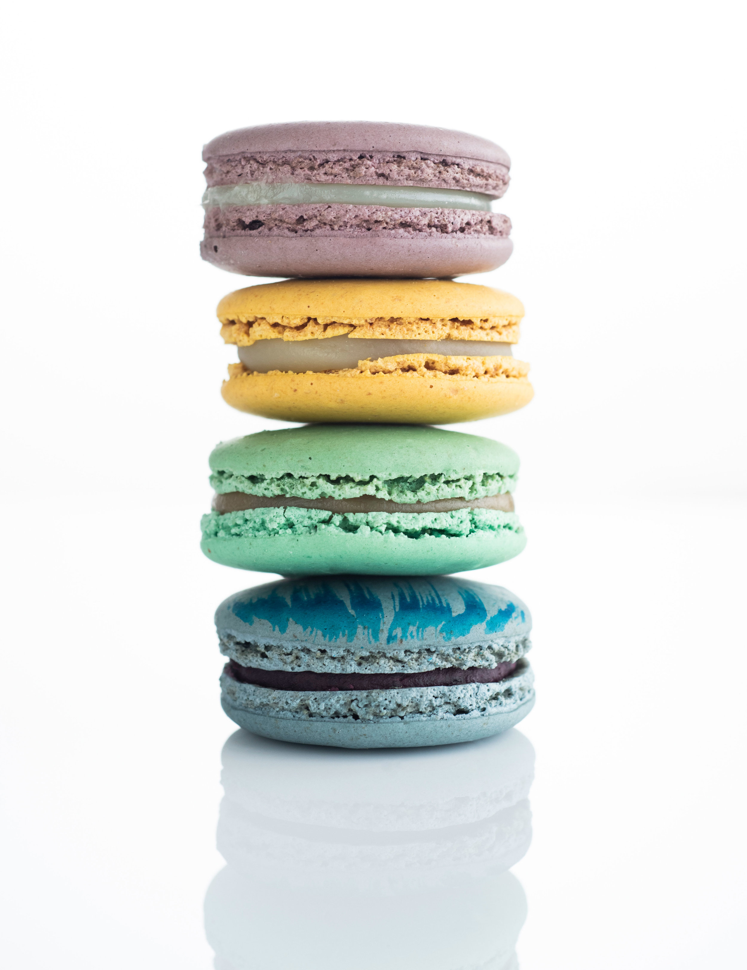 Stack of colorful macarons from Lette