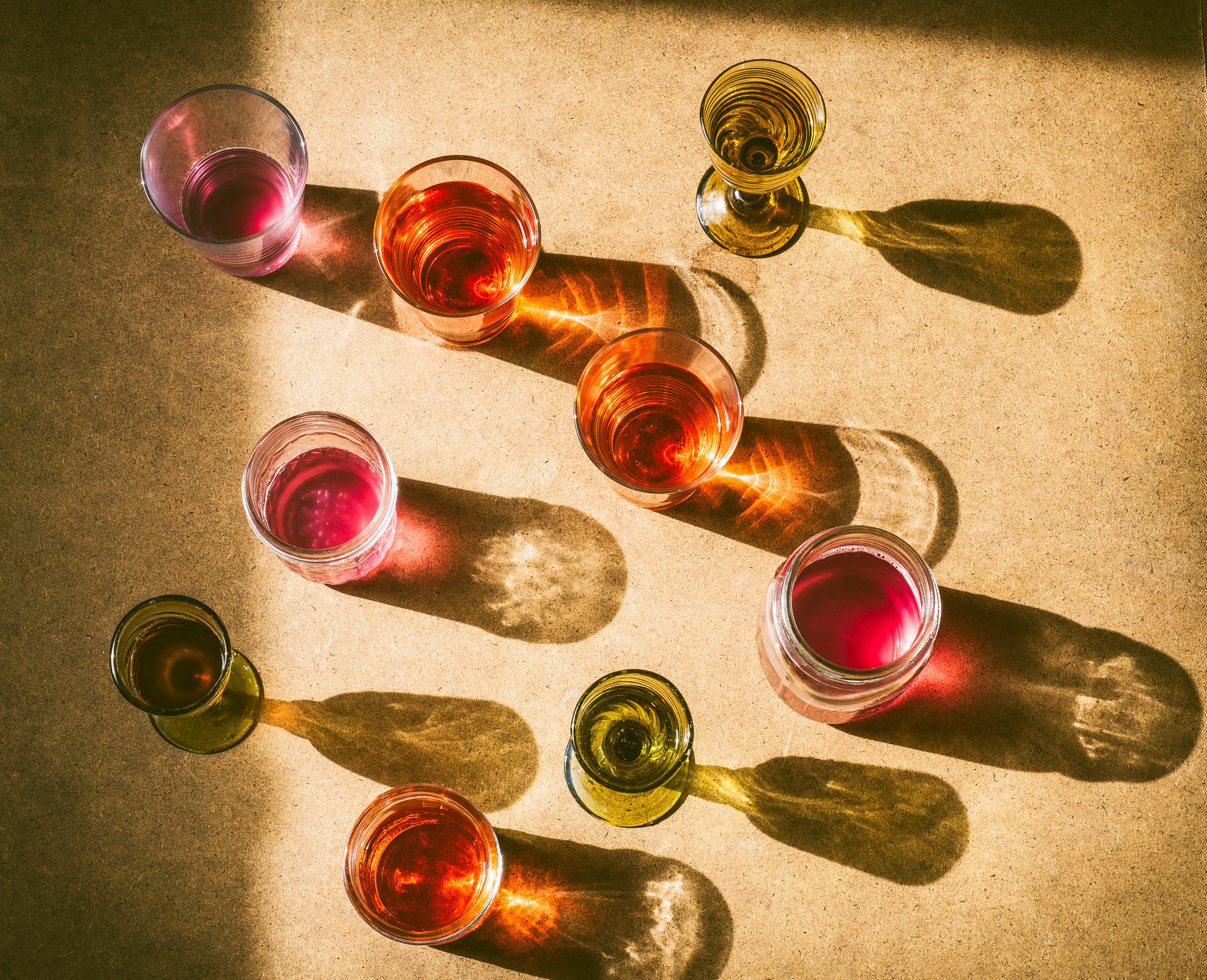 Colored Drinks in Vintage Glasses