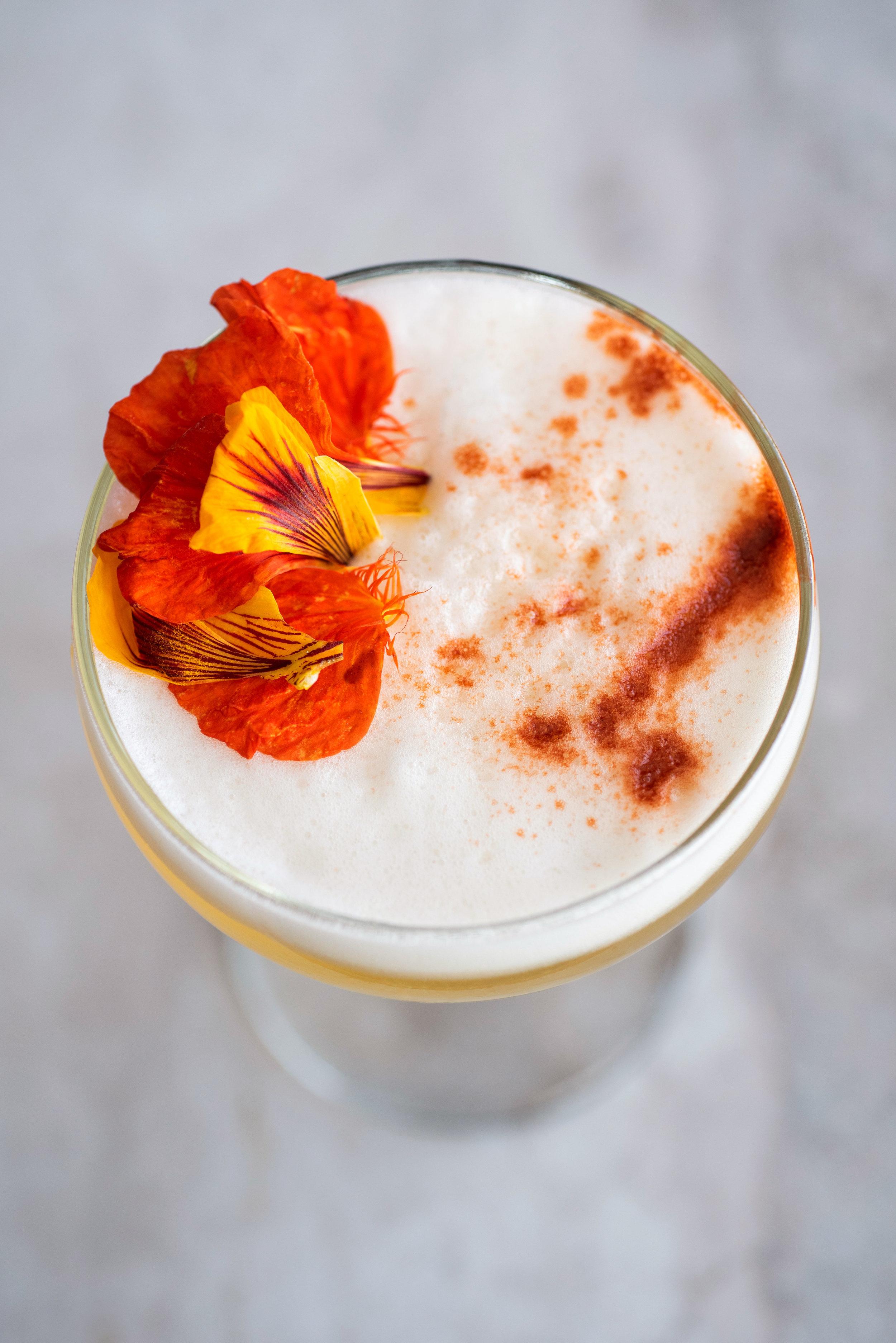 Whiskey Sour with Nasturtium