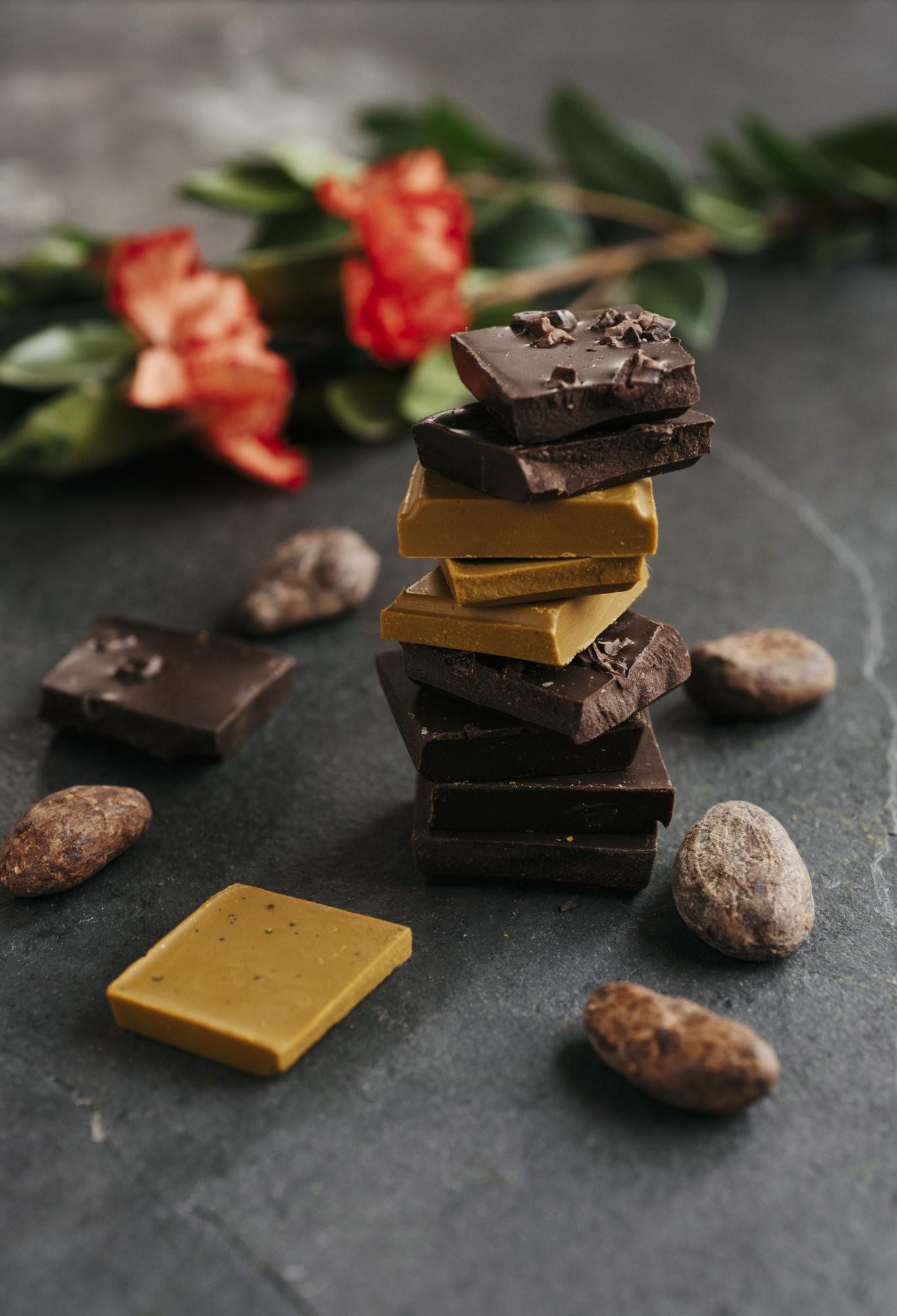 stacked fair trade chocolate and cacao beans