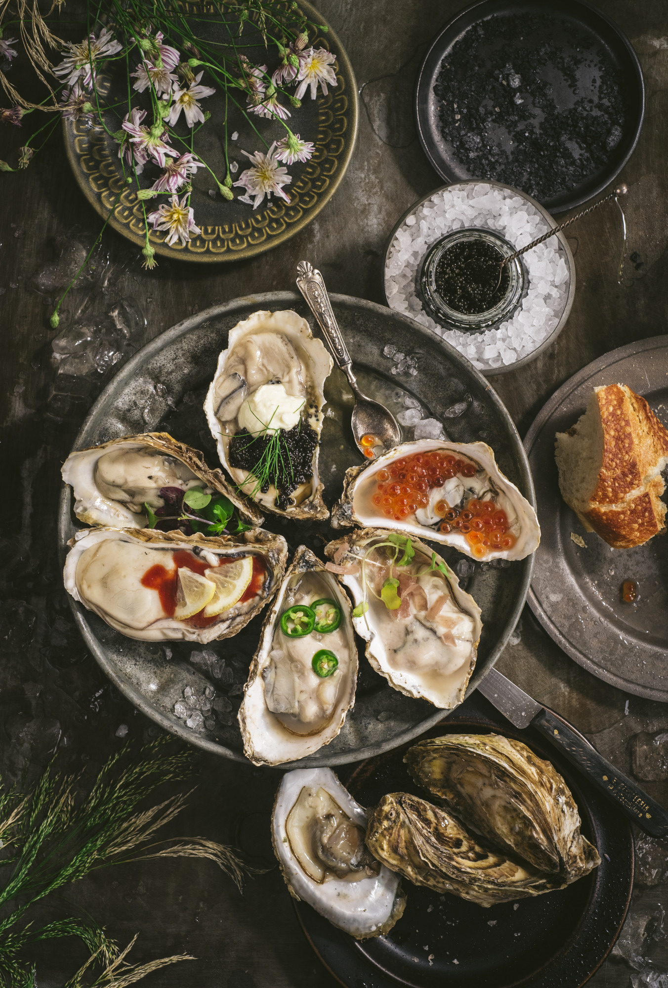 oyster scene with bread and caviar