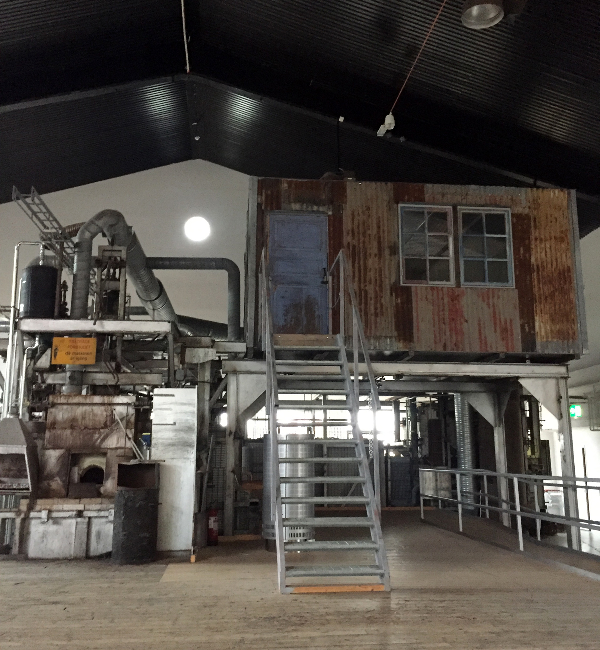Beautiful old furnace with office above, part of Boda Glasbruk factory and museum
