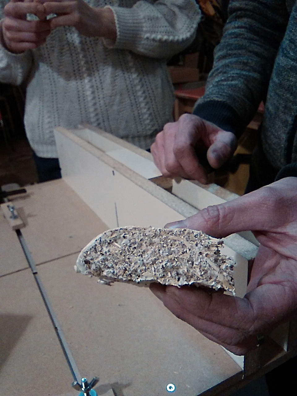 The mycelium brick cut in two pieces, here is how it looks inside