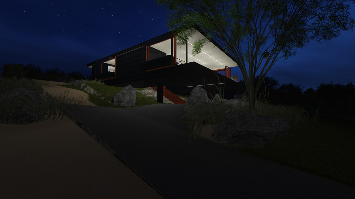 Banks House_FORMplay Architects_At Night Driveway Access_Iconic Architecture_Orford Tasmania.jpg