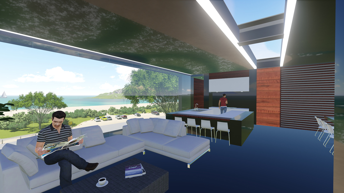 Tollmans Hill House_FORMplay Architecture_Open Plan Communal Living_Roof Light and View to Sea.jpg