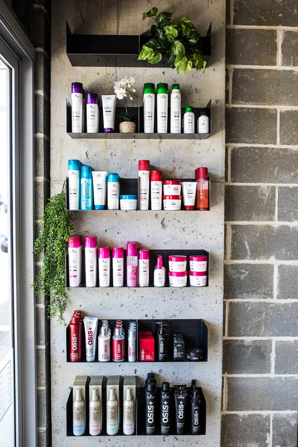 Snip Into hair and beauty salon_Sydney_FORMplay Architecture Interior Design_Off Form COncrete_Hot Rolled Bespoke Steel Shelving.jpg