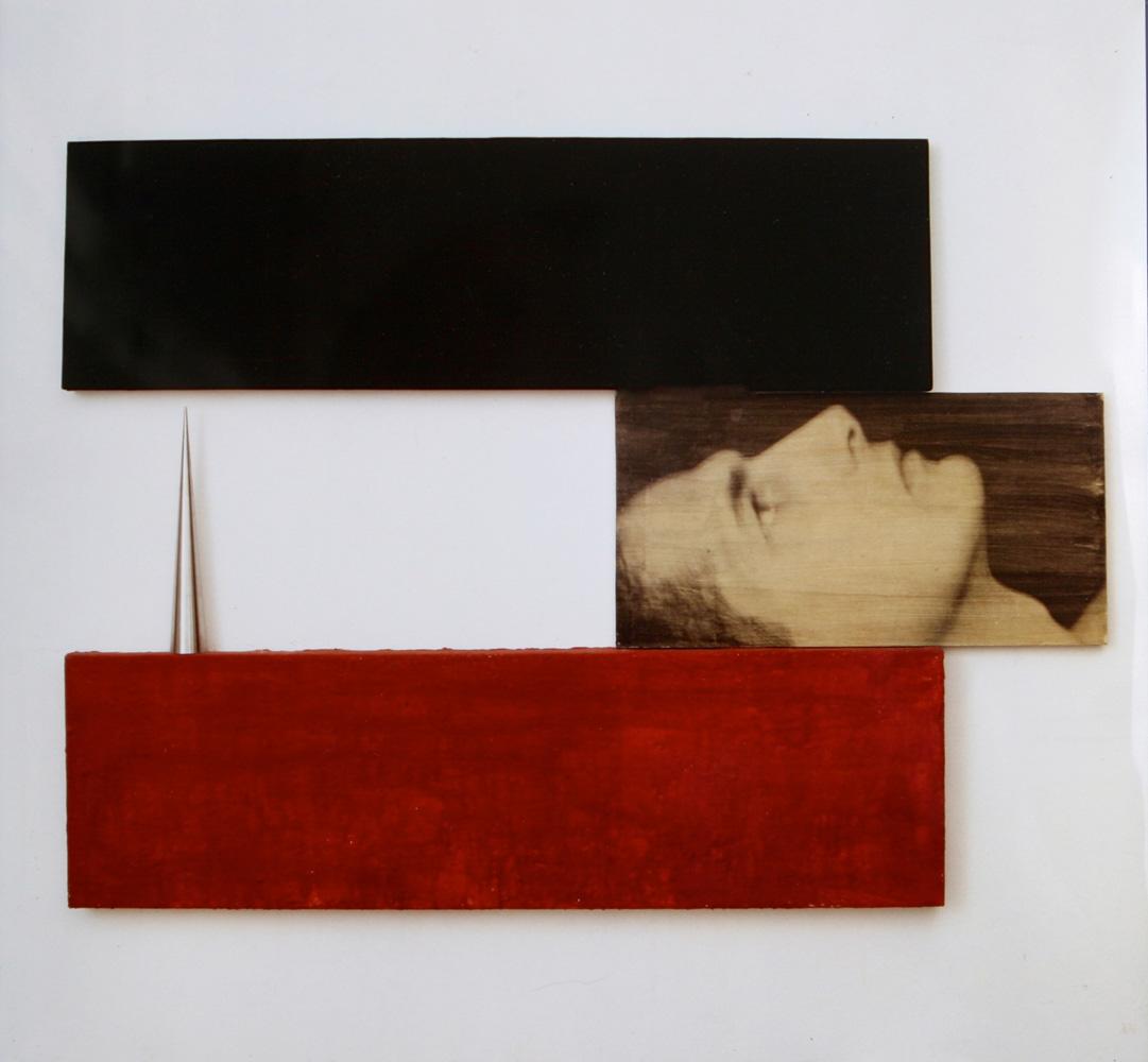 Senza titolo, 1990  Emulsione fotografica su carta, tecnica mista e ferro su legno  cm.120 x 166