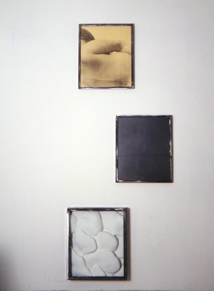 Senza titolo, 1992 Trittico  Emulsione fotografica e grafite su carta incollata su legno, gesso, ferro, vetro