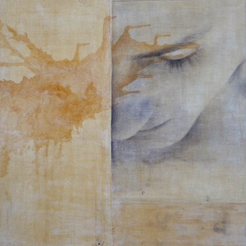 Senza titolo, 1997  Emulsione fotografica, cera, gommalacca e tela su legno  cm. 125 x 125