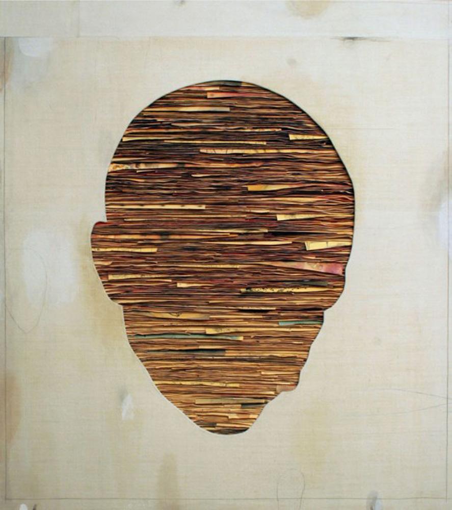 Senza titolo,  2011  Tecnica mista su carta e tela incollata su legno  cm 140 x 125