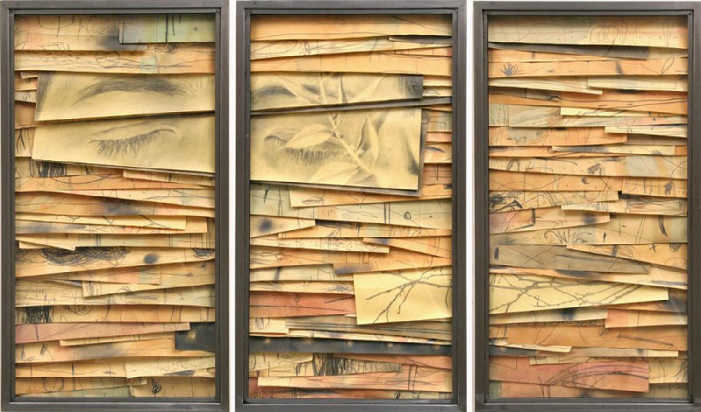 Senza titolo,  2008  Grafite e tecnica mista su carta incollata su legno, ferro, vetro  cm 90 x 150 x 7