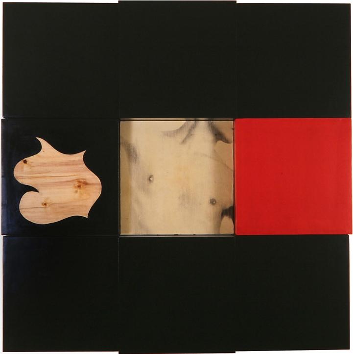 Senza titolo, 1991  Emulsione fotografica su carta, acrilico,legno  cm. 150 x 150
