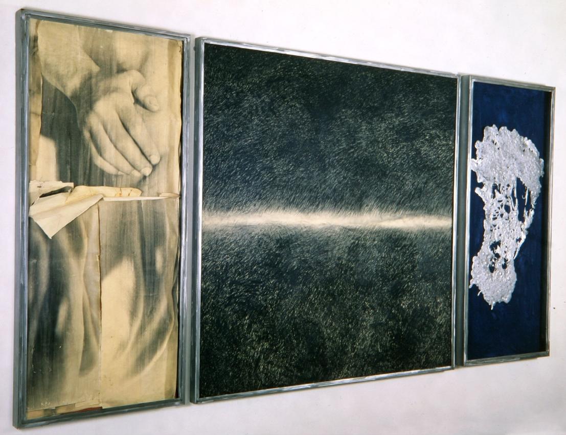 Senza titolo, 1992  Emulsione fotografica e carboncino su carta; pigmento e piombo su tavola, ferro, vetro