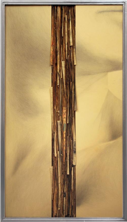Senza titolo,2008  Grafite e tecnica mista su carta incollata su legno, ferro, vetro  cm 180x100