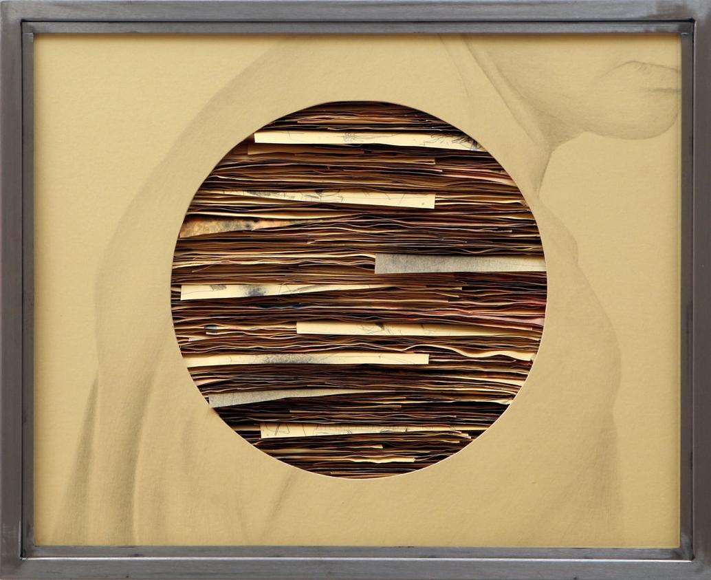 Senza titolo, 2010  Grafite e tecnica mista su carta incollata su legno, ferro, vetro  cm 52 x 64 x 7