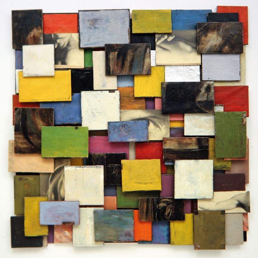 Senza titolo, 2000  Olio su tela e carta emulsionata  cm.185 x 185