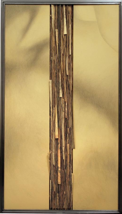 Senza titolo,  2008  Grafite e tecnica mista su carta incollata su legno, ferro, vetro  cm 180x100
