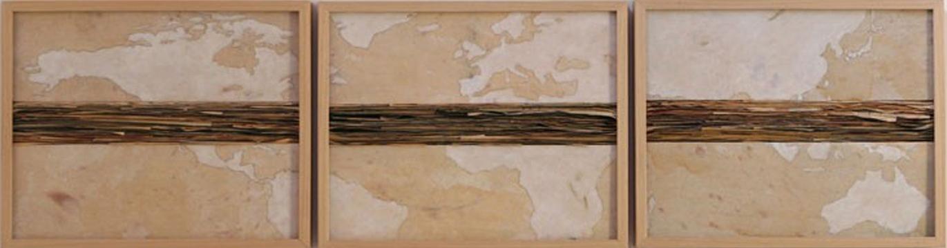 Senza titolo,  2012  Tecnica mista su carta e tela incollata su legno  cm 52 x 180