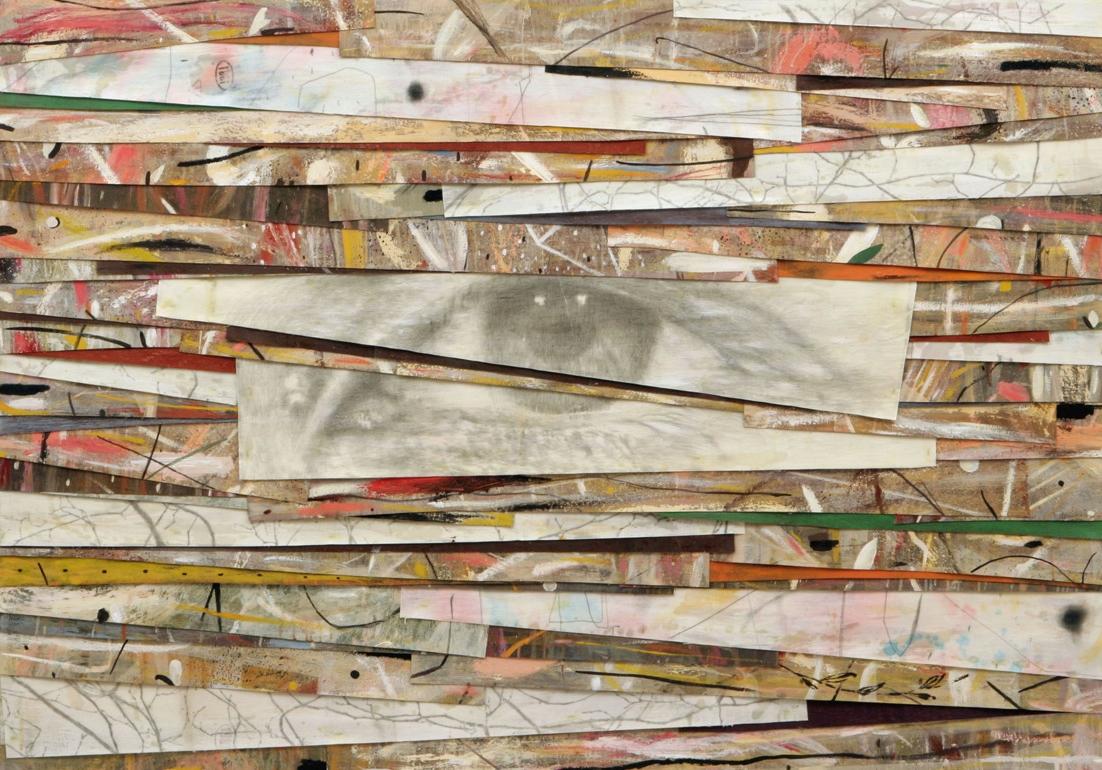 Senza titolo, 2008  Olio, grafite e cera su tela  cm 140 x 170