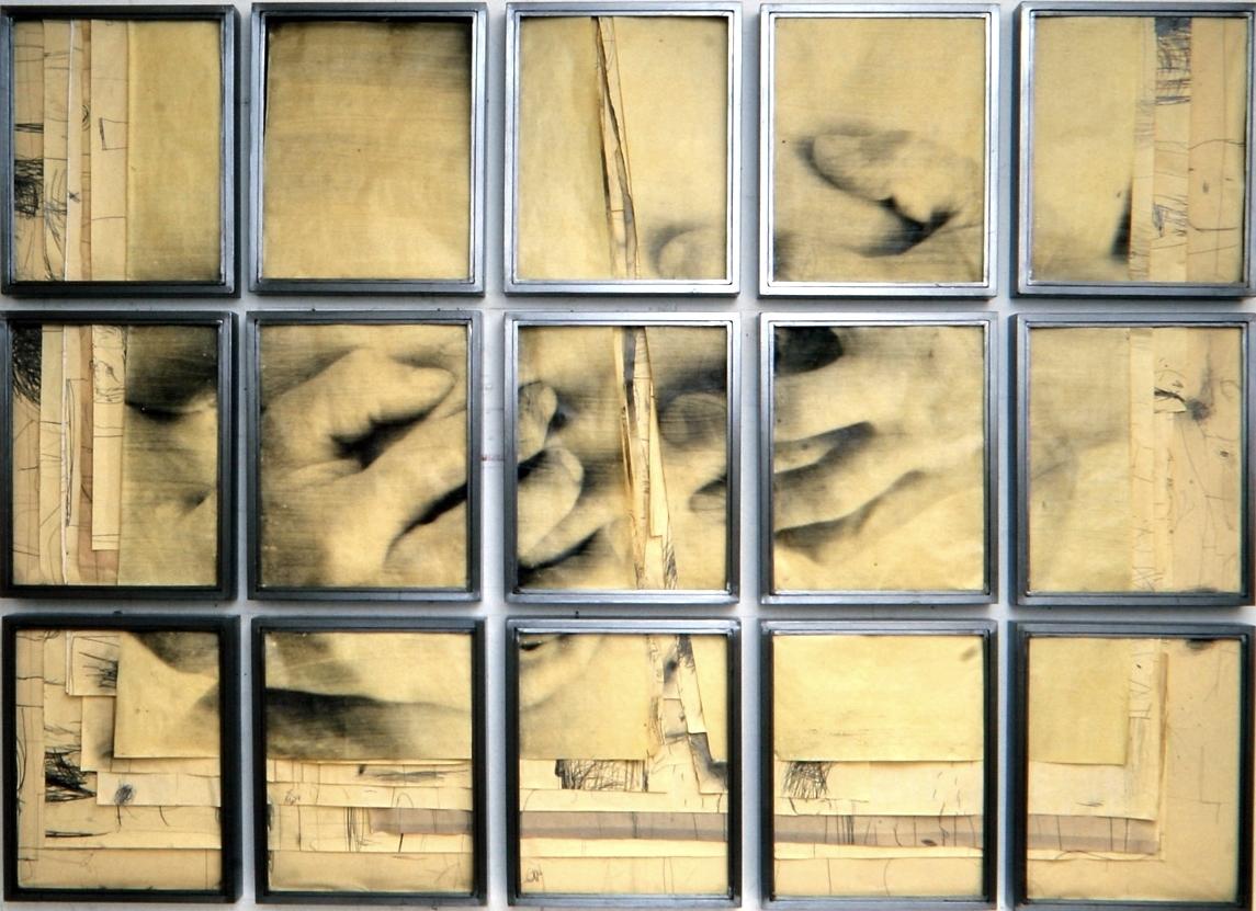 Senza titolo, 1999  Tecnica mista ed emulsione fotografica su carta, ferro, vetro  Polittico 15 elementi cm.192 x 260