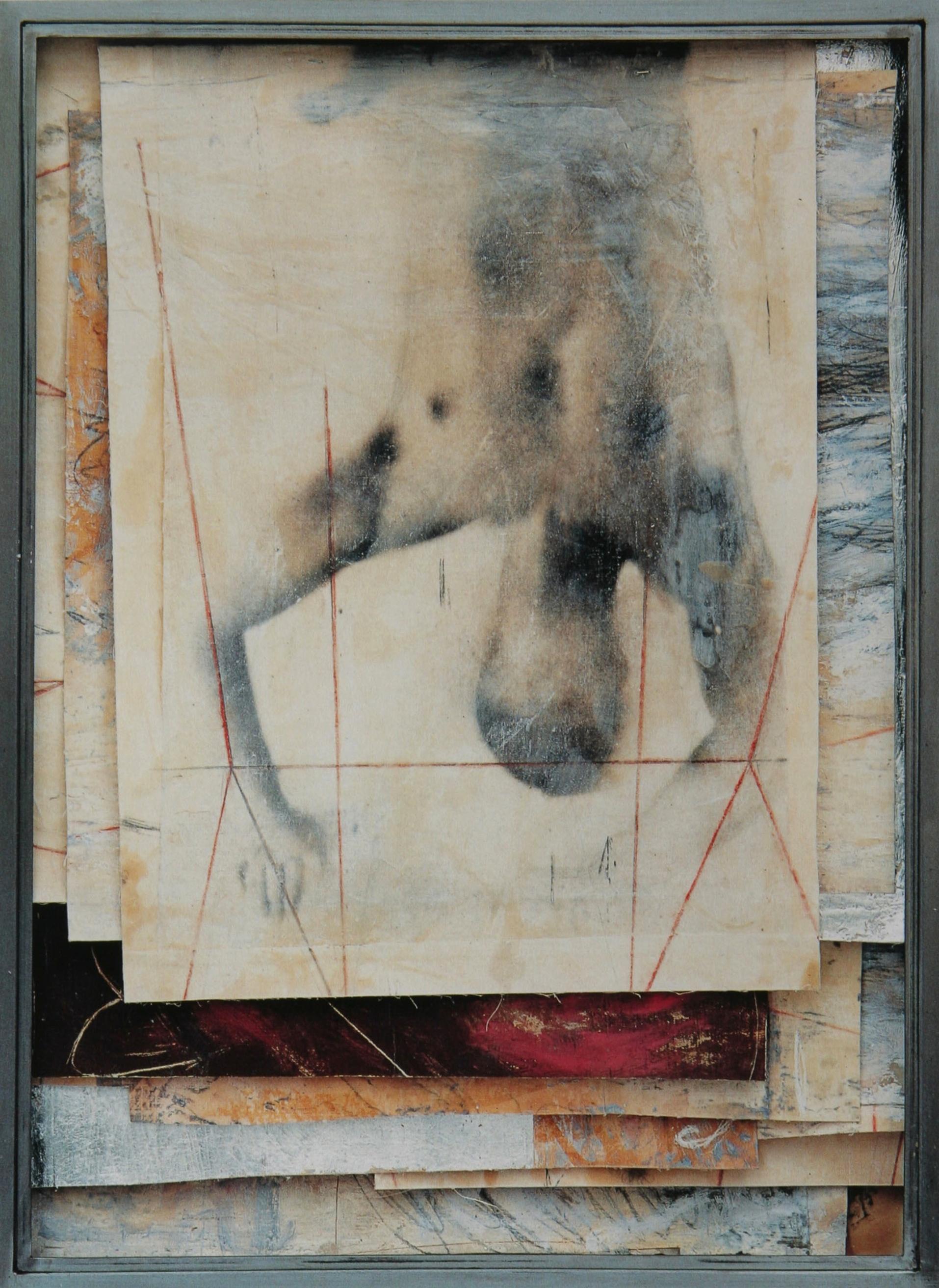 Senza titolo, 2001  Emulsione fotografica, olio e cera su tela, ferro, vetro  cm. 94 x 70