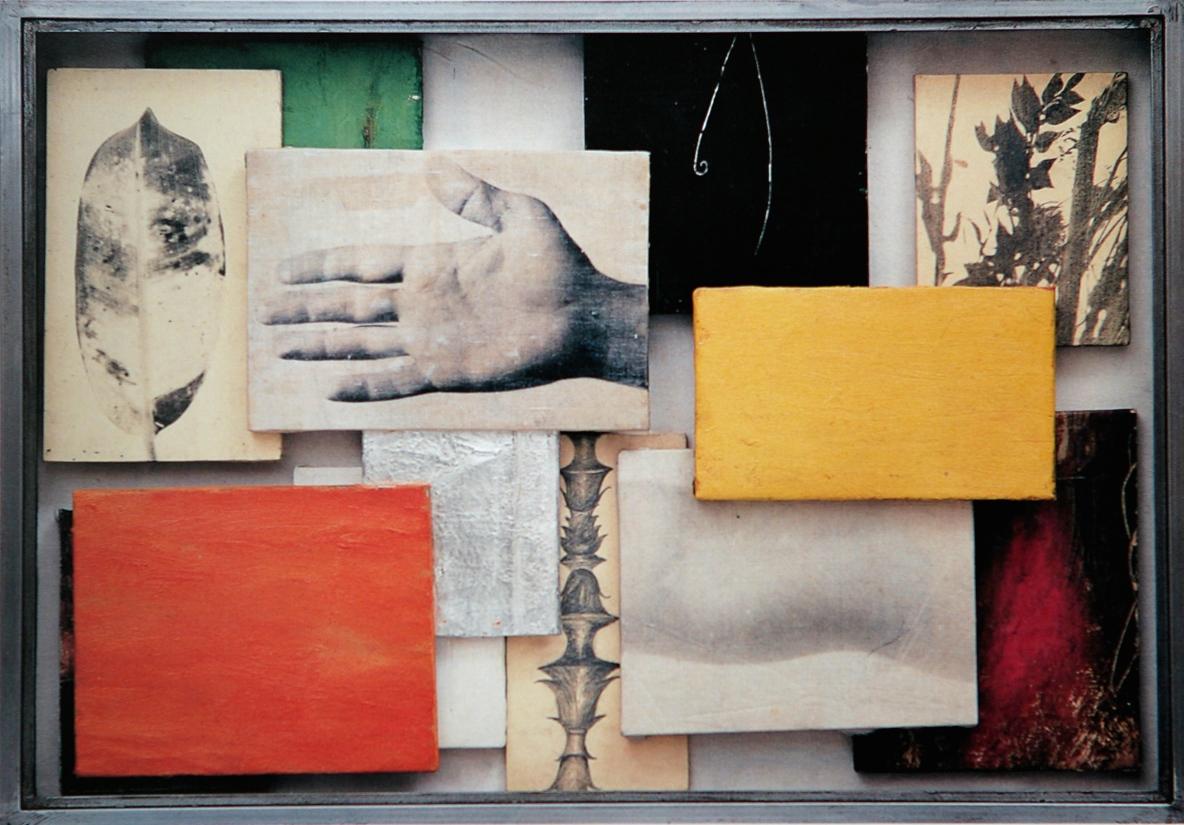 Senza titolo, 1999  Tecnica mista su tela e carta, ferro, vetro  cm.70 x 100