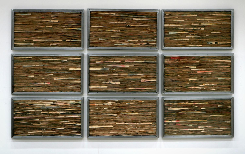Senza titolo,2013  Tecnica mista su carta, ferro, vetro  Polittico, 9 elementi cm.150 x 270