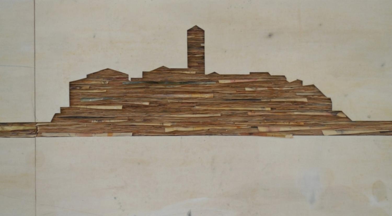 Senza titolo , 2014  Tecnica mista su carta e tela incollata su legno  cm 120 x 15100 (particolare)