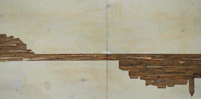 Senza titolo, 2014  Tecnica mista su carta e tela incollata su legno  cm 120 x 1510 (particolare)