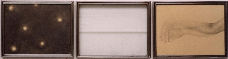 Senza titolo, 2004  Grafite e tecnica mista su carta incollata su legno, ferro, vetro  cm 135x35