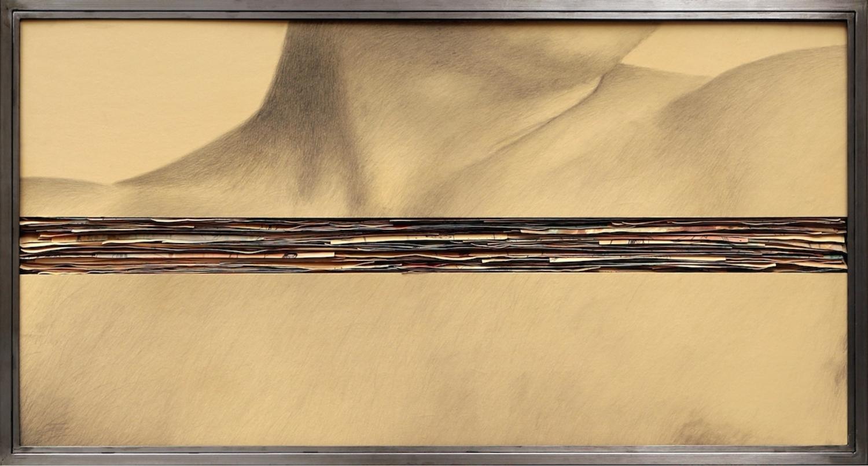 Senza titolo, 2008  Grafite e tecnica mista su carta incollata su legno, ferro, vetro  cm 70 x 130 x 7