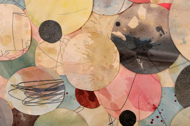 Senza titolo,  2013  Tecnica mista su carta, specchio, ferro, vetro  Polittico, 9 elementi cm.150 x 270 (particolare)