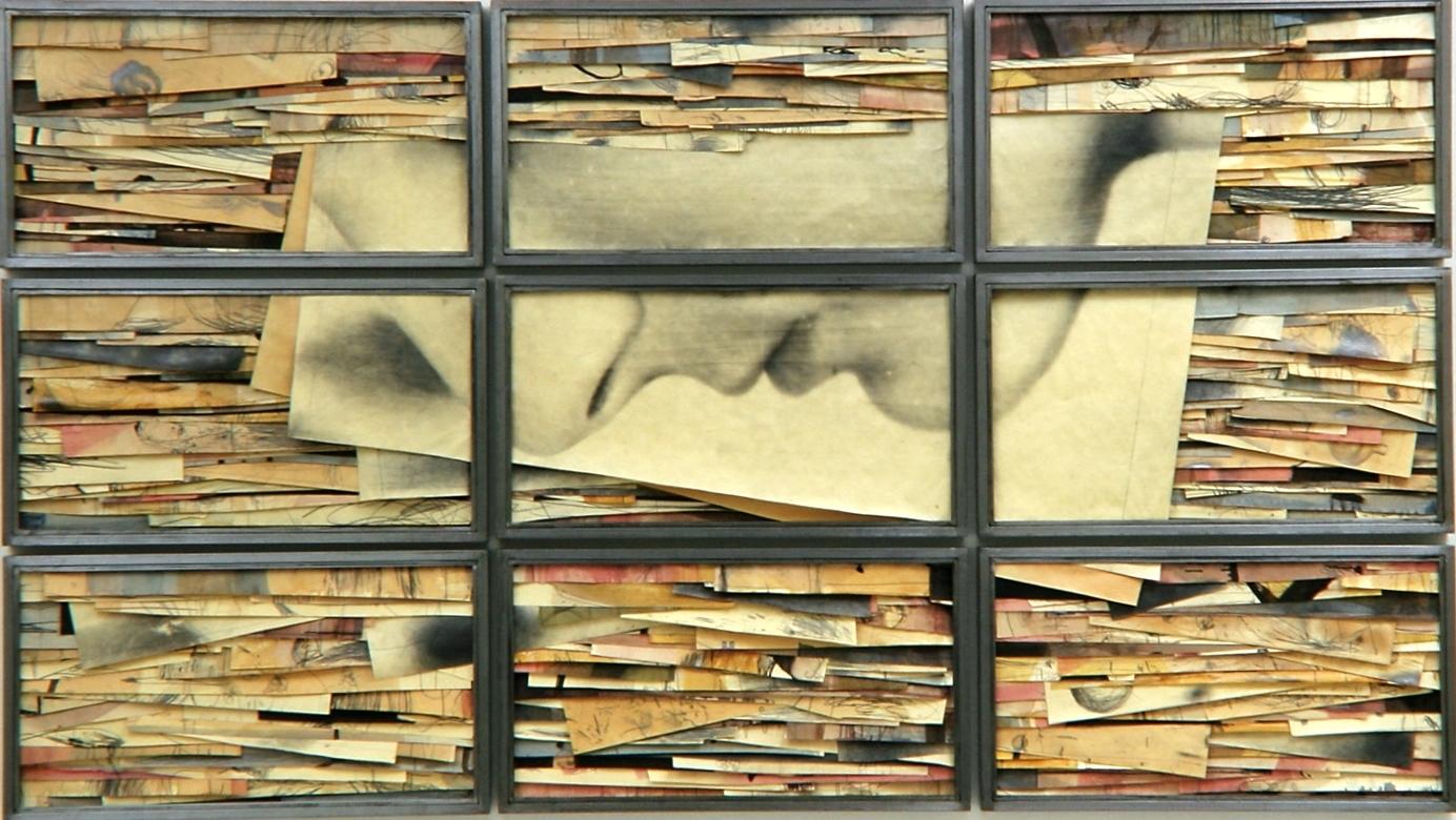 Senza titolo, 2000  Tecnica mista ed emulsione fotografica su carta, ferro, vetro  Polittico, 9 elementi cm.150 x 270